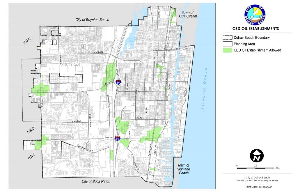 Delray Beach map of CBD oil establishments allowed