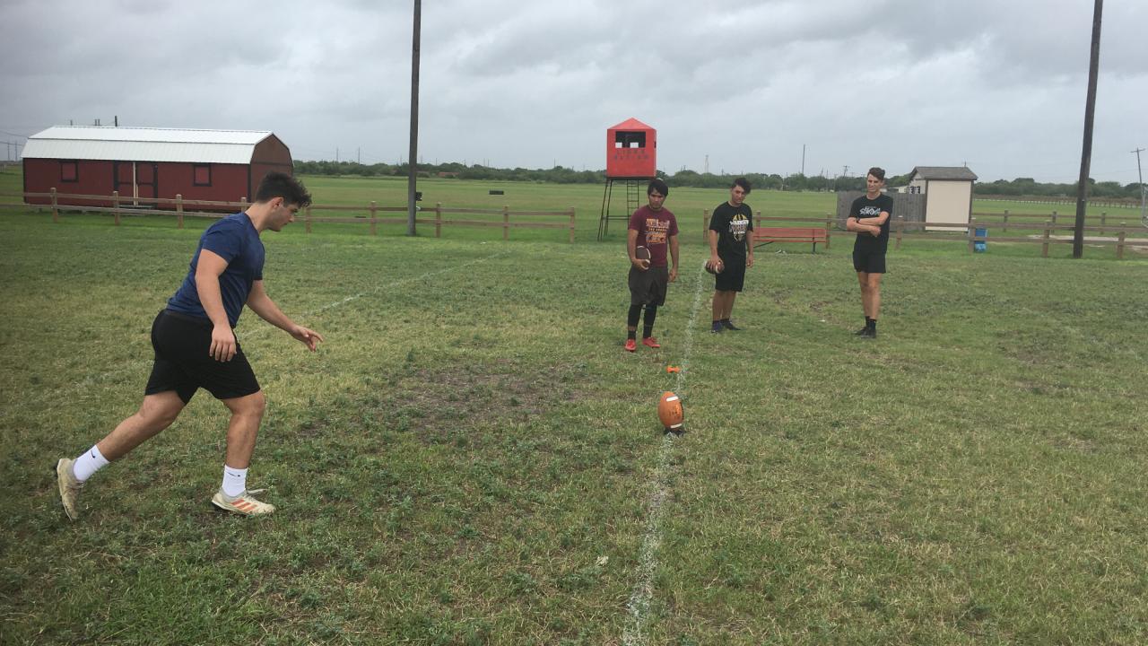 Kickers training during pan