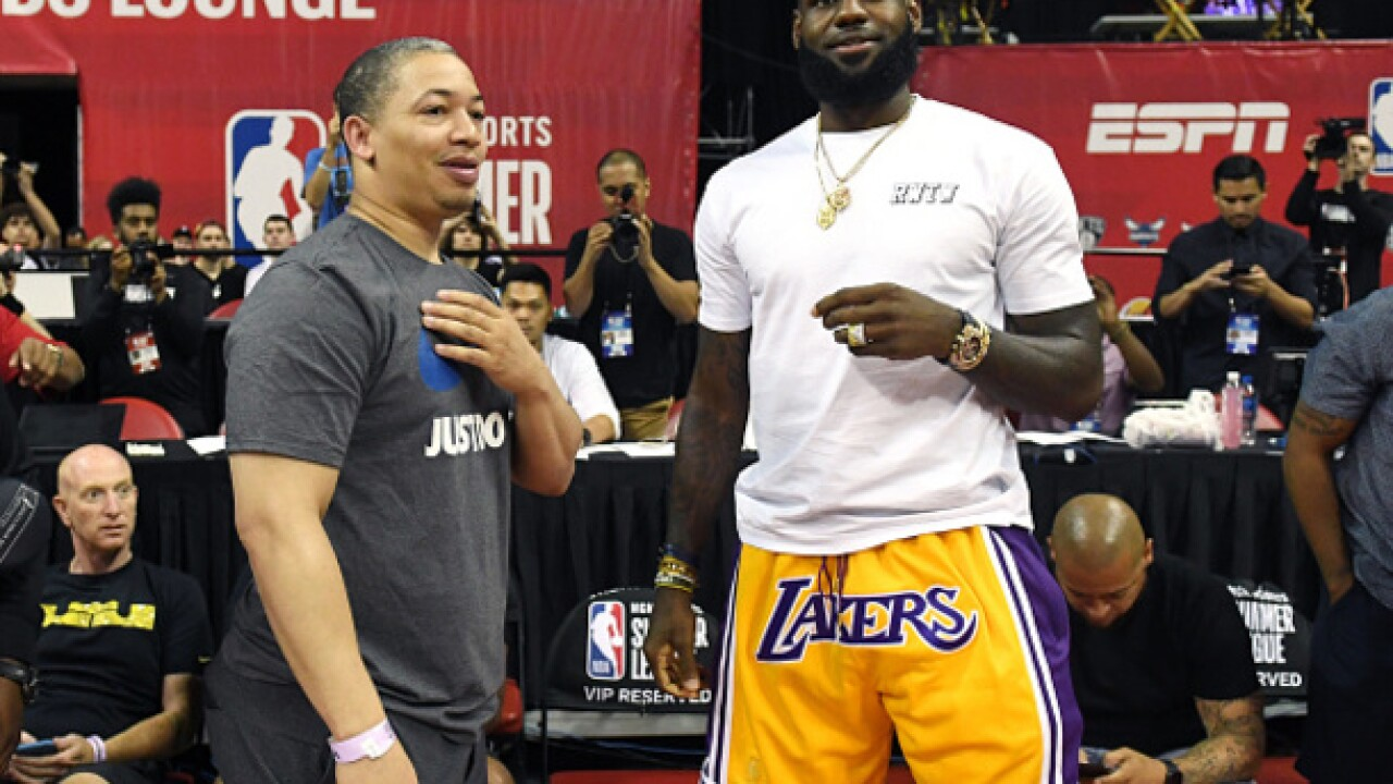 41e1c3bb5e13 Lebron James and Tyronn Lue have exchange at NBA Summer League games