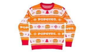 Popeyes debuts a chicken sandwich-inspired ugly Christmas sweater