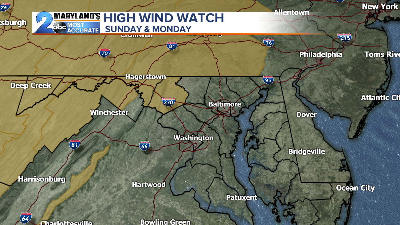 High Wind Watch for Sunday