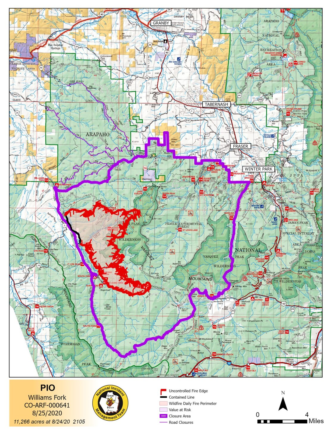 Williams Fork Fire map_Aug 25 2020