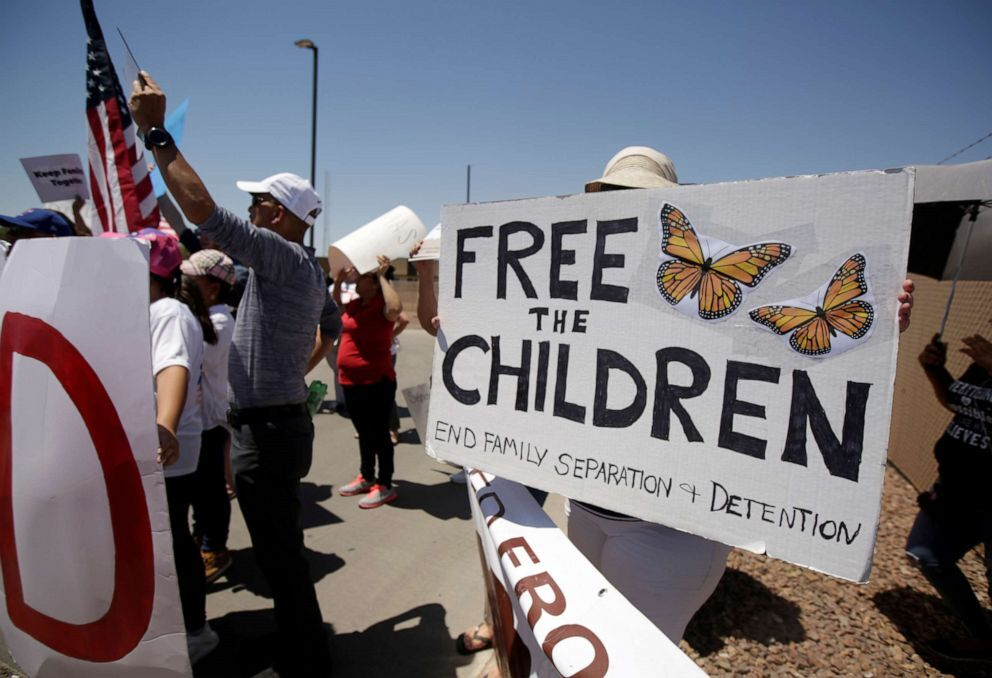 Activists hold a protest against the treatment and conditions of children in immigration detention outside U.S. Customs and Border Protection's Border Patrol station facilities in Clint, Texas, U.S., June 27, 2019 (Jose Luis Gonzalez/Reuters).