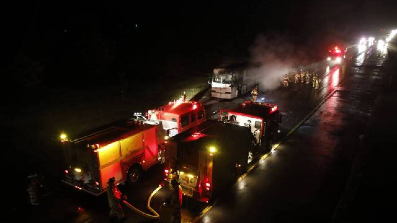 Tour bus catches fire along Route 219