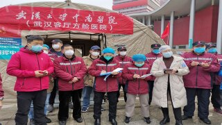 Chinese wearing masks in Wuhan