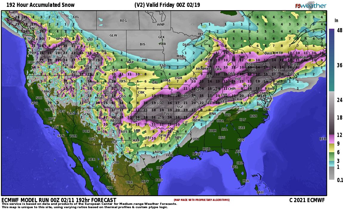 European Model Snowfall Forecast Next 8 Days