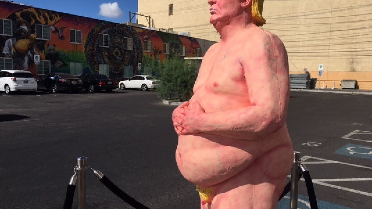 Naked Trump arrives in downtown Las Vegas