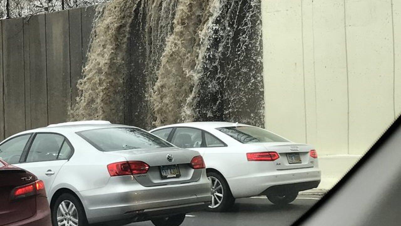 Waterfall closes lane of Interstate 71