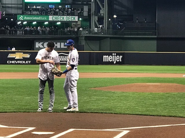 Christian Yelich's brother throws out the first pitch