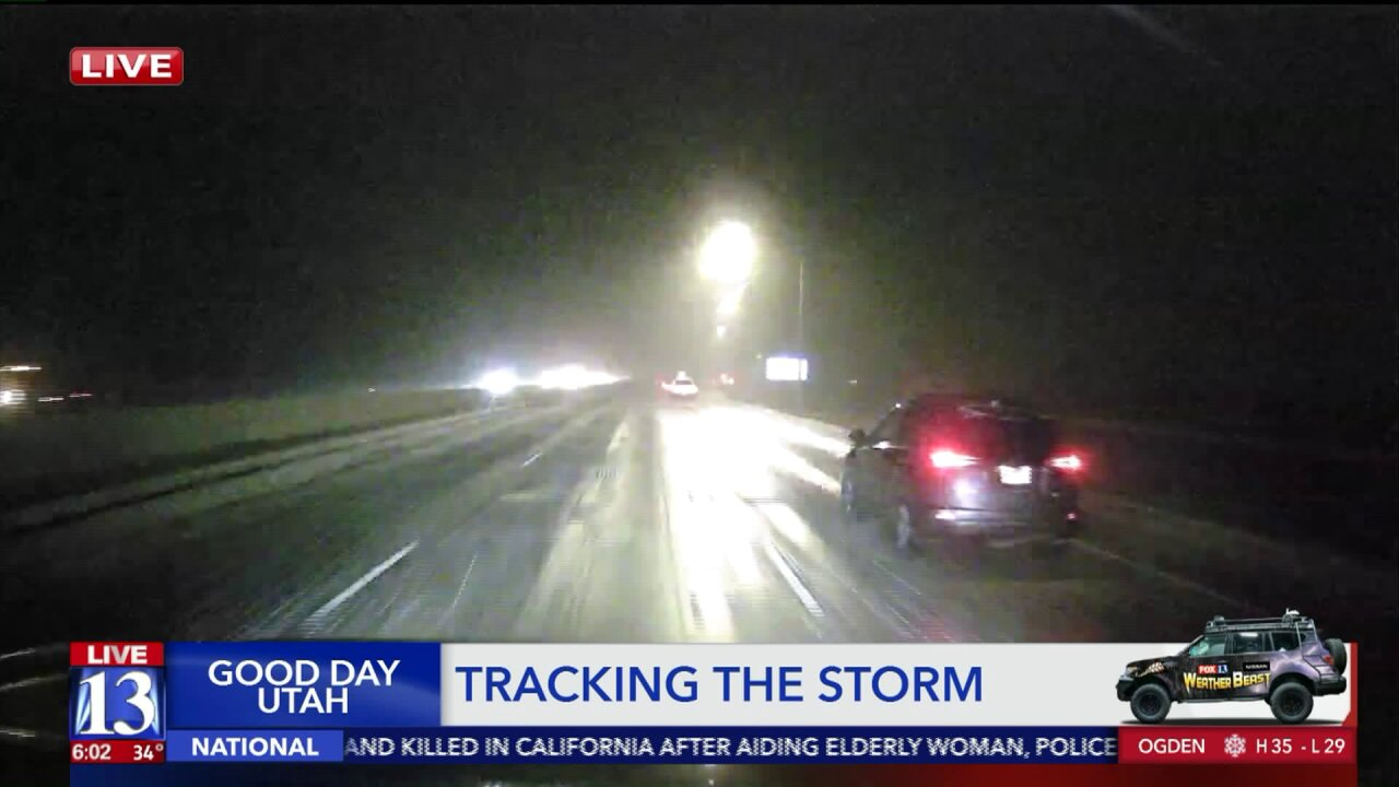 Snowstorm affecting roadways in northern UtahMonday