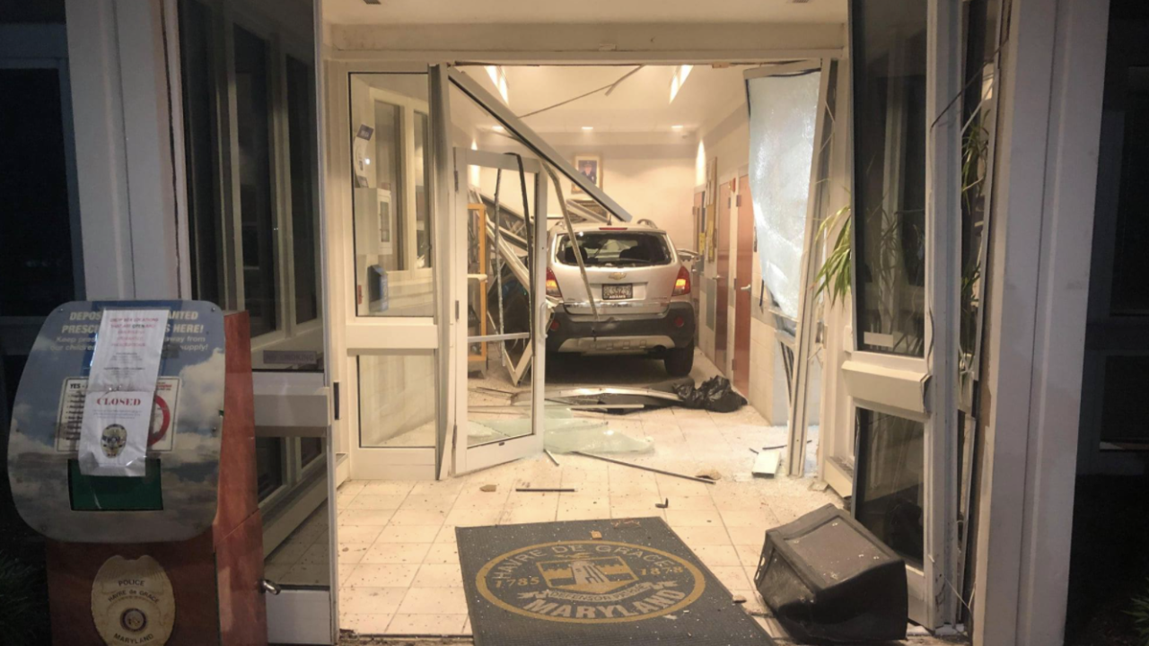 Crash into police station