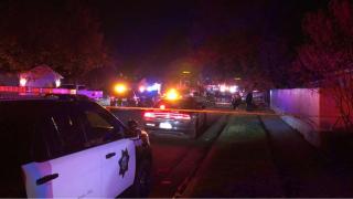 KFSN-TV photo of Fresno shooting scene, 9 shot, some fatally