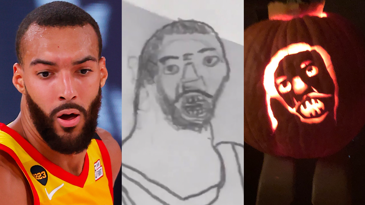 Utah Jazz's Rudy Gobert rates jack-o'-lantern based on child's viral drawing a 10/10