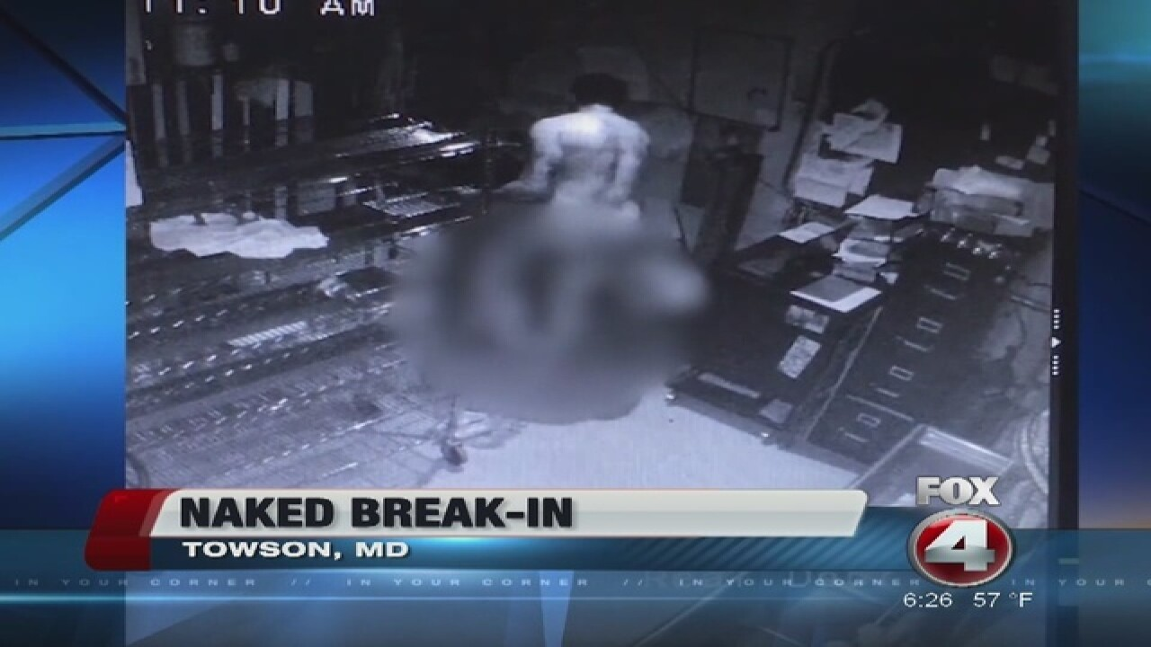 Naked man caught on camera breaking into Maryland pizza shop