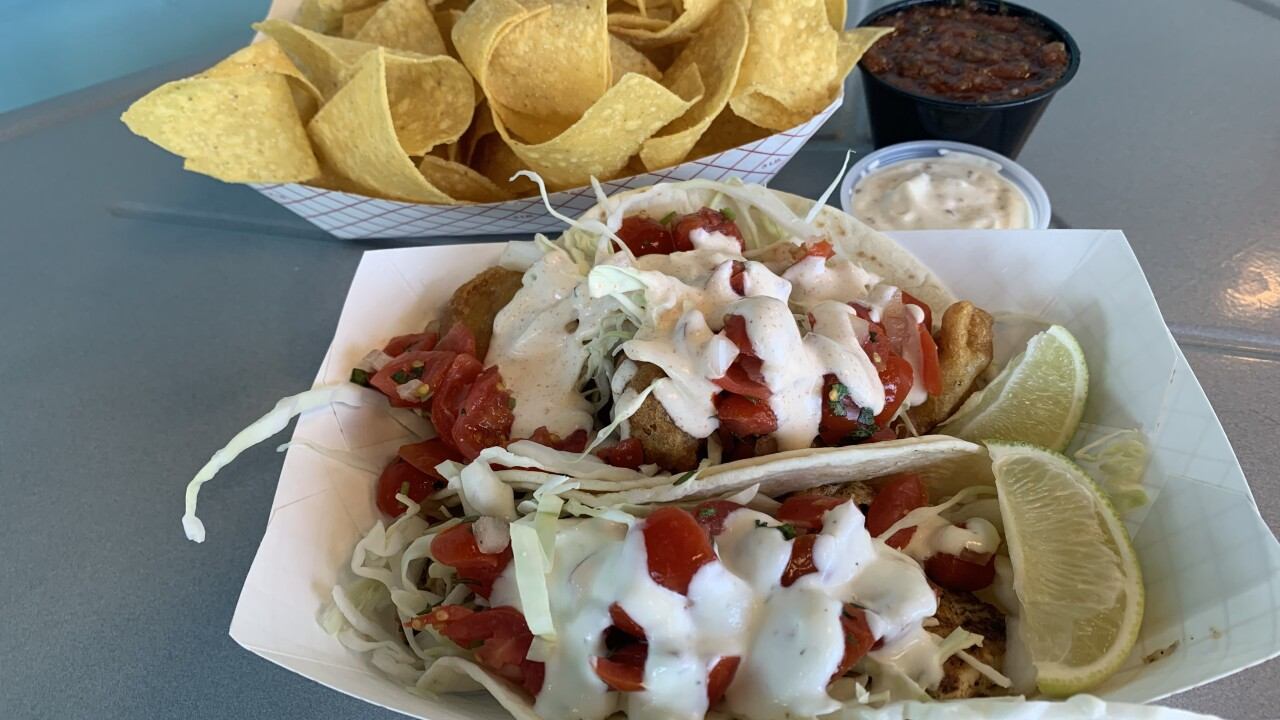 Tacos, chips and salsa from Bro's Fish Tacos
