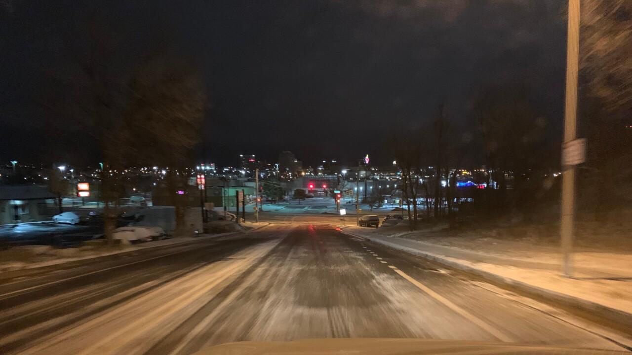 Icy roads Colorado Springs
