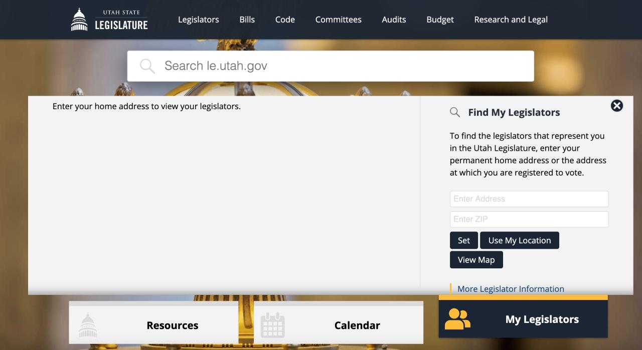 Screen shot of find my legislature