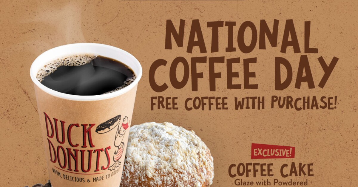 Celebrate National Coffee Day at Duck Donuts on Sept. 29 with free coffee