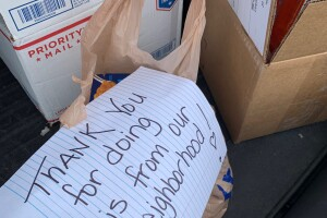 Note left by a Lebanon homeowner along with several bagged donations