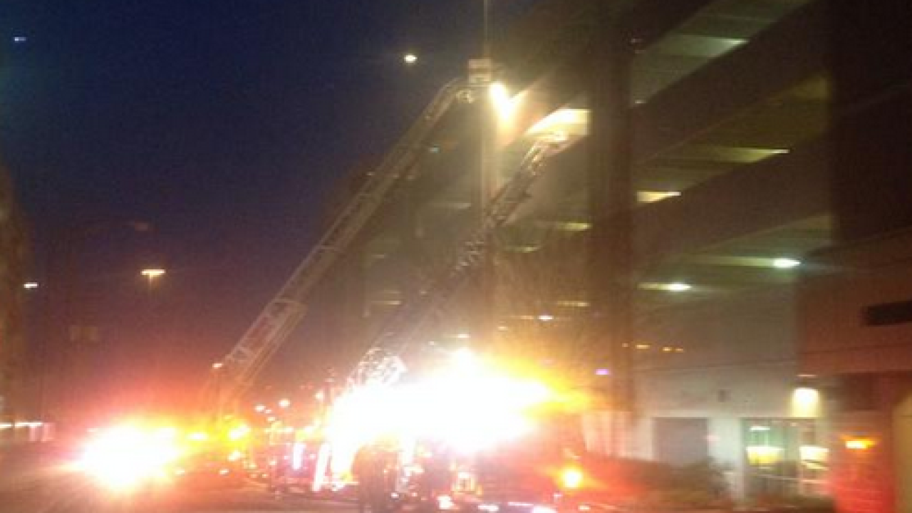 Fire at 8th Street parking deck at VCU Medical campus
