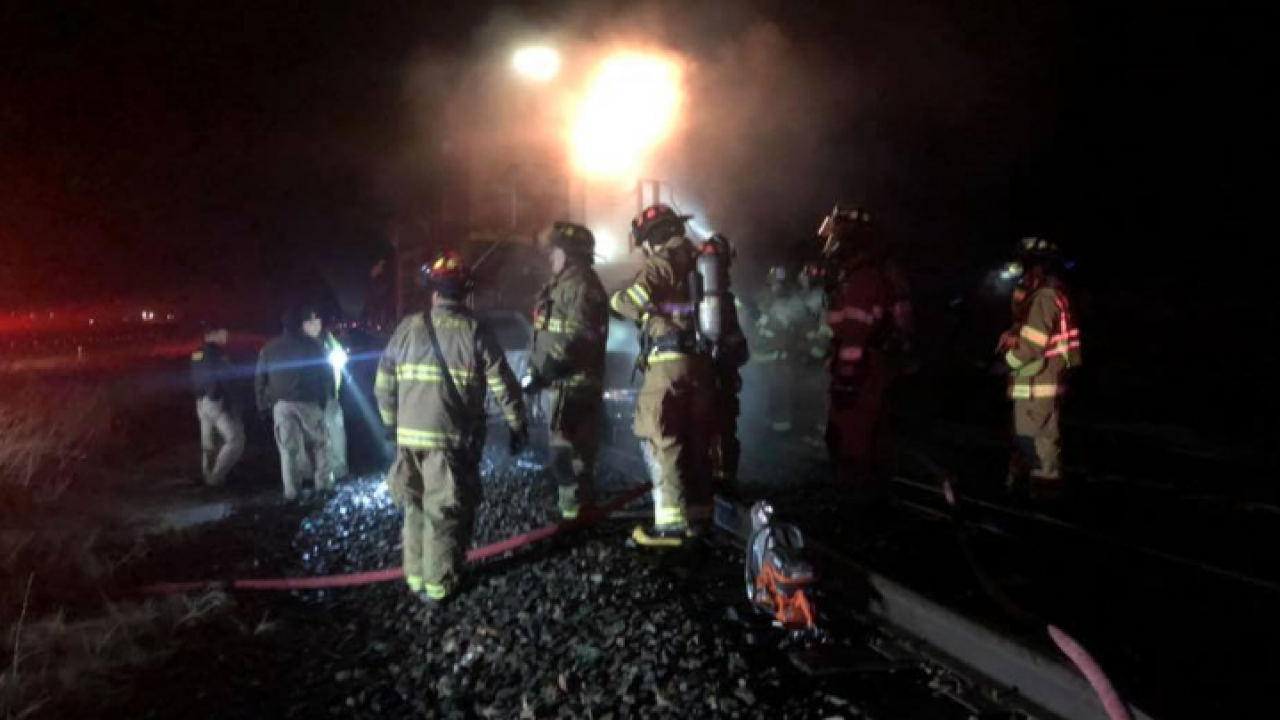 Vehicle bursts into flames after being hit by train in Frenchtown