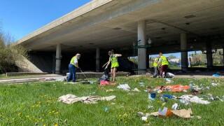 homeless camp volunteer clean up