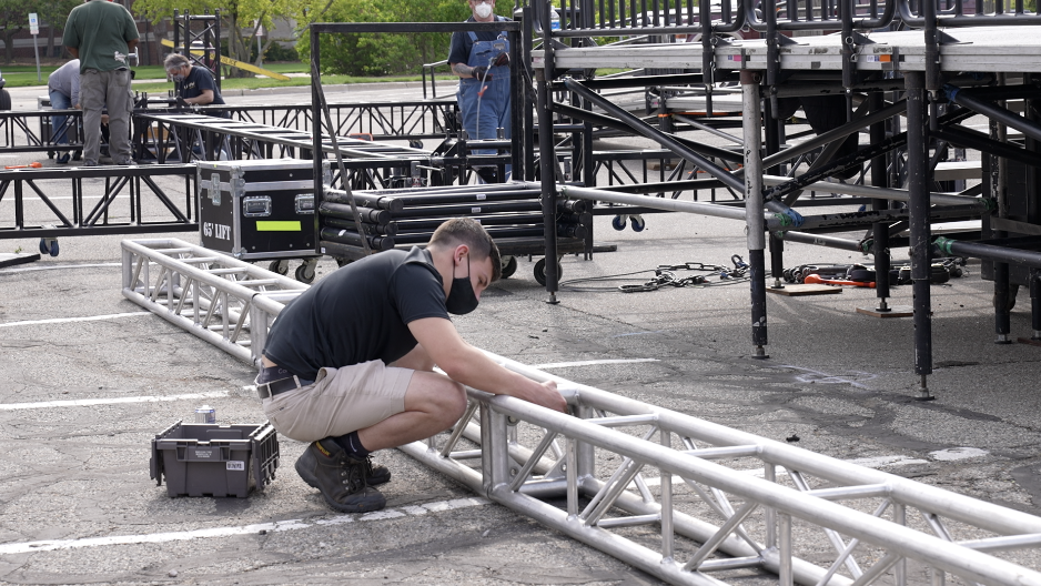 Graduation stage being built outside of the auditorium.