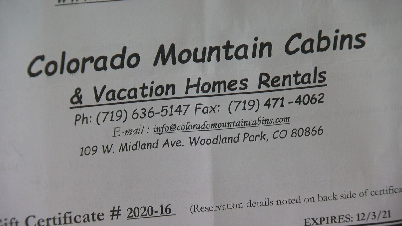 Colorado Mountain Cabins Gift Certificate