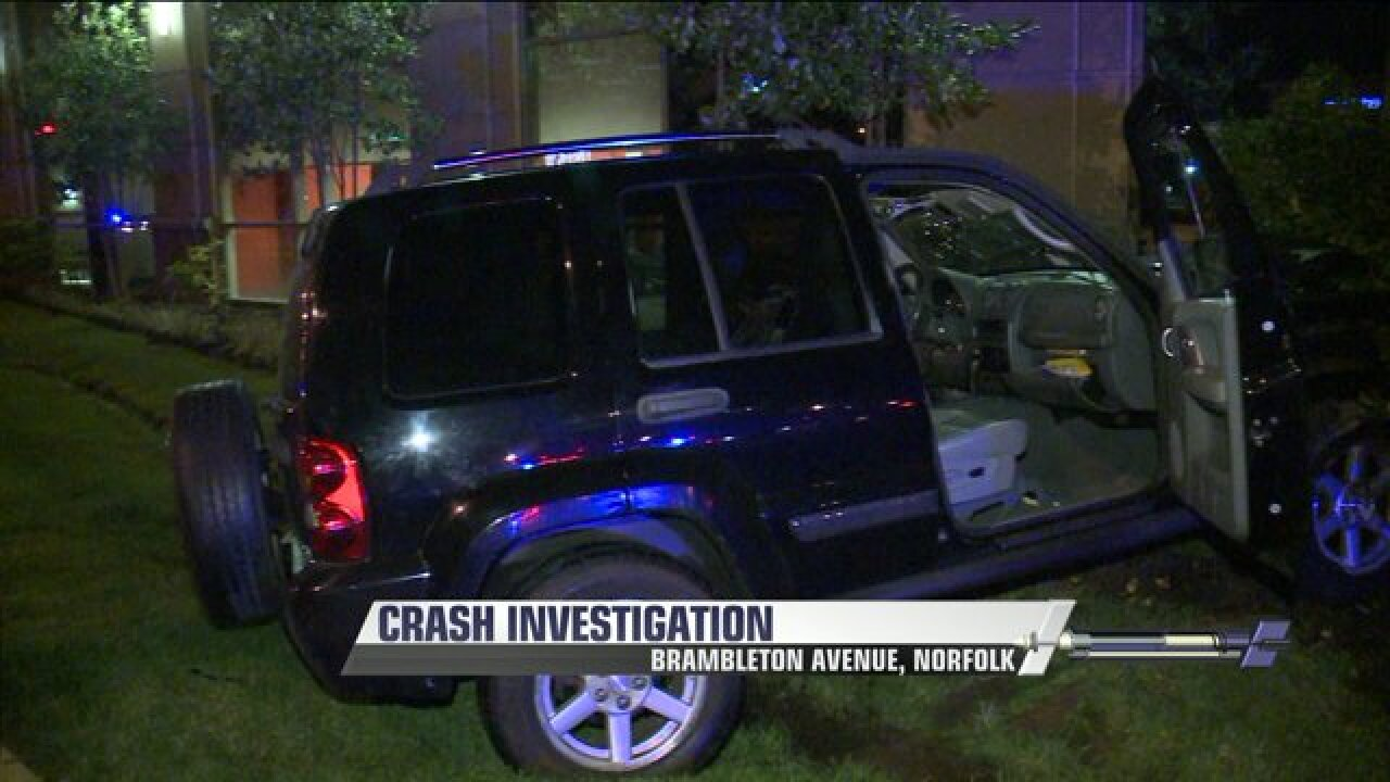 Woman hospitalized with life-threatening injuries after Norfolk crash