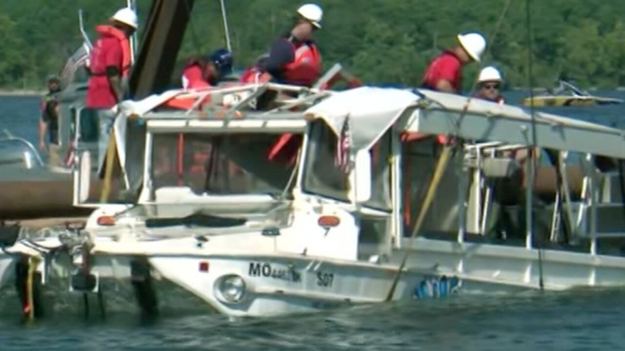 Sunken duck boat recovered from Table Rock Lake