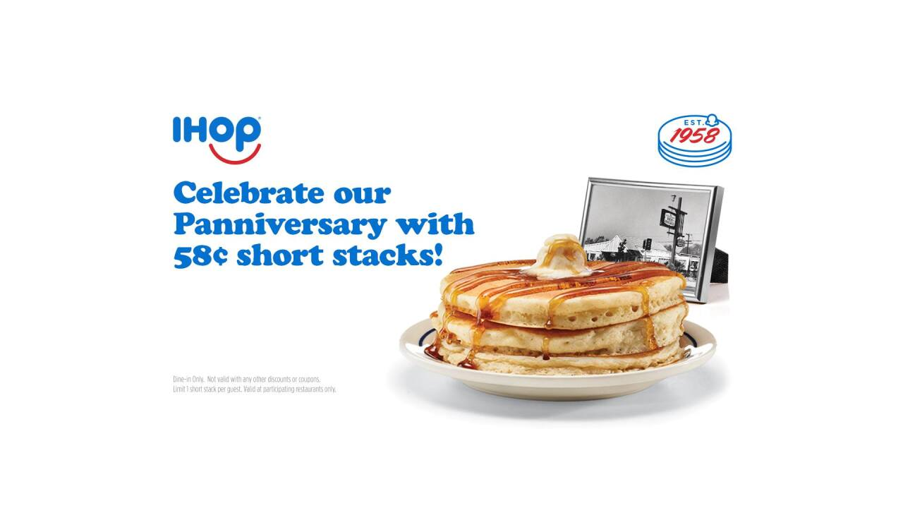 IHOP selling short stacks of pancakes for 58 cents Tuesday on its 'Panniversary'