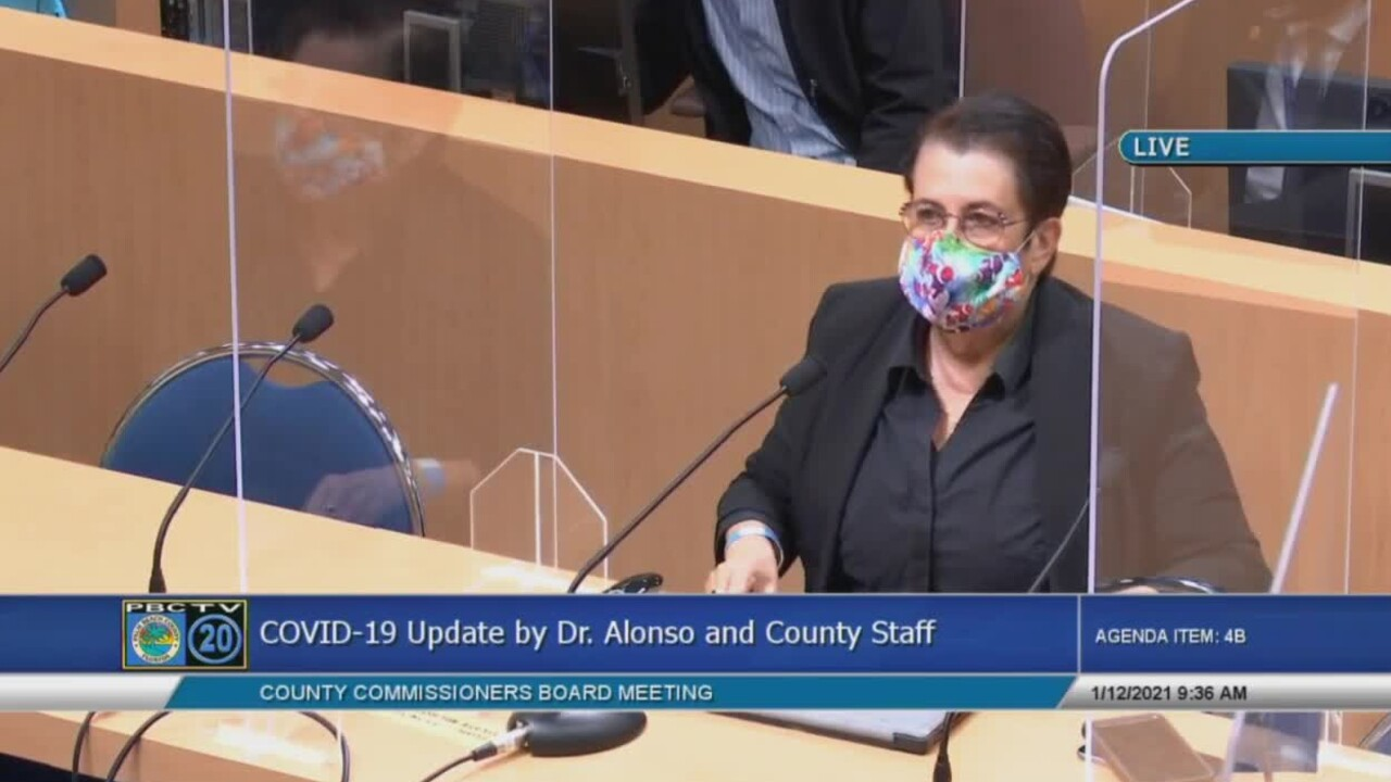 Palm Beach County health director Dr. Alina Alonso addresses county commissioners on Jan. 12, 2021.jpg