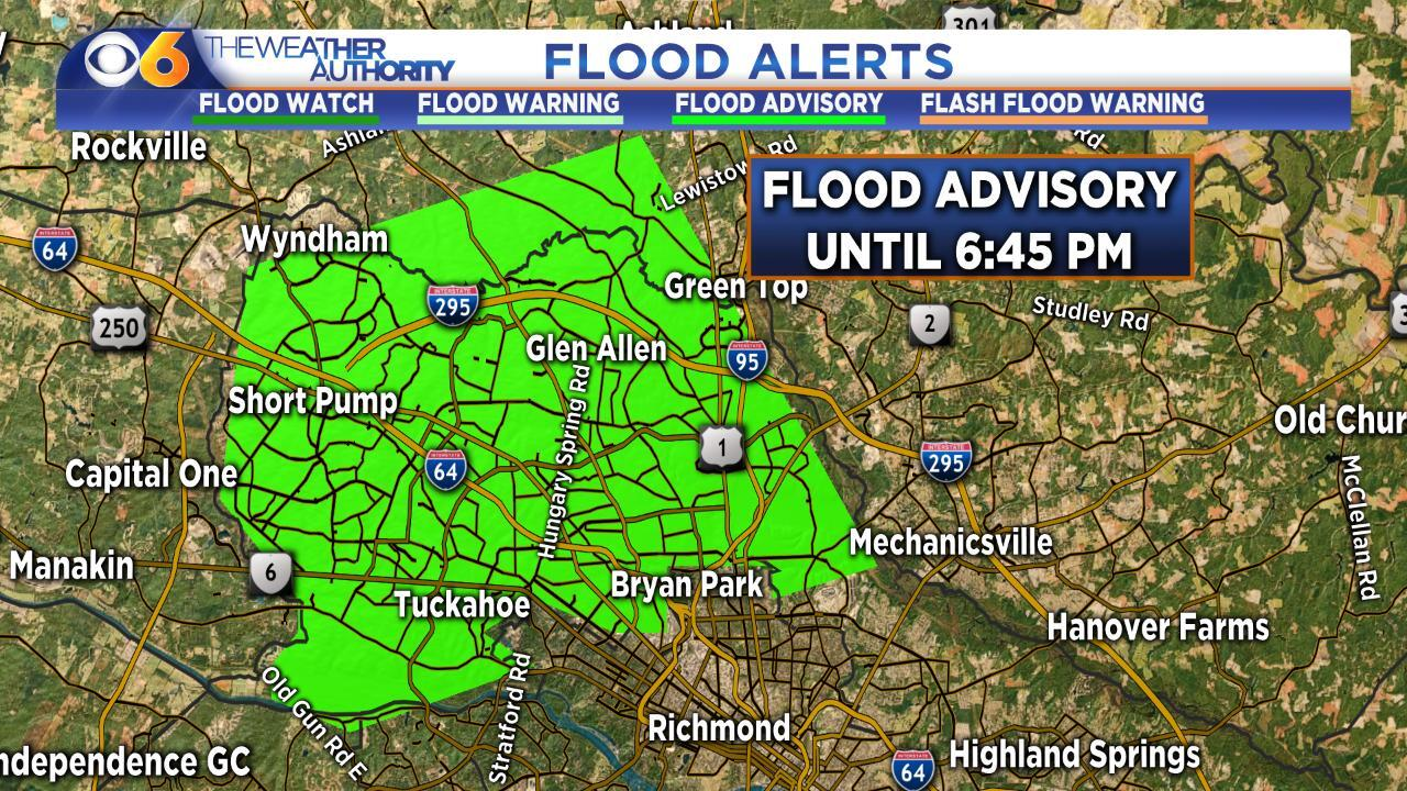 Flood Advisory no longer in effect for parts of metro-Richmond