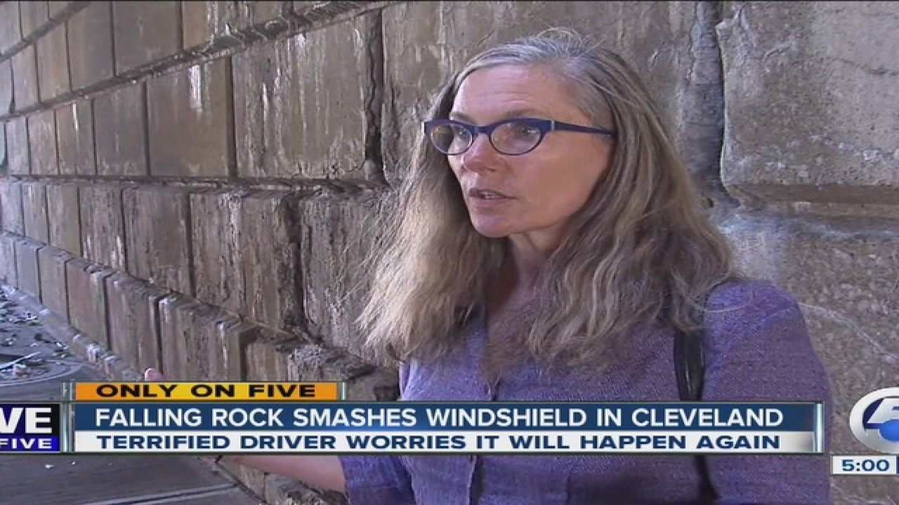 Driver claims falling rock smashed windshield