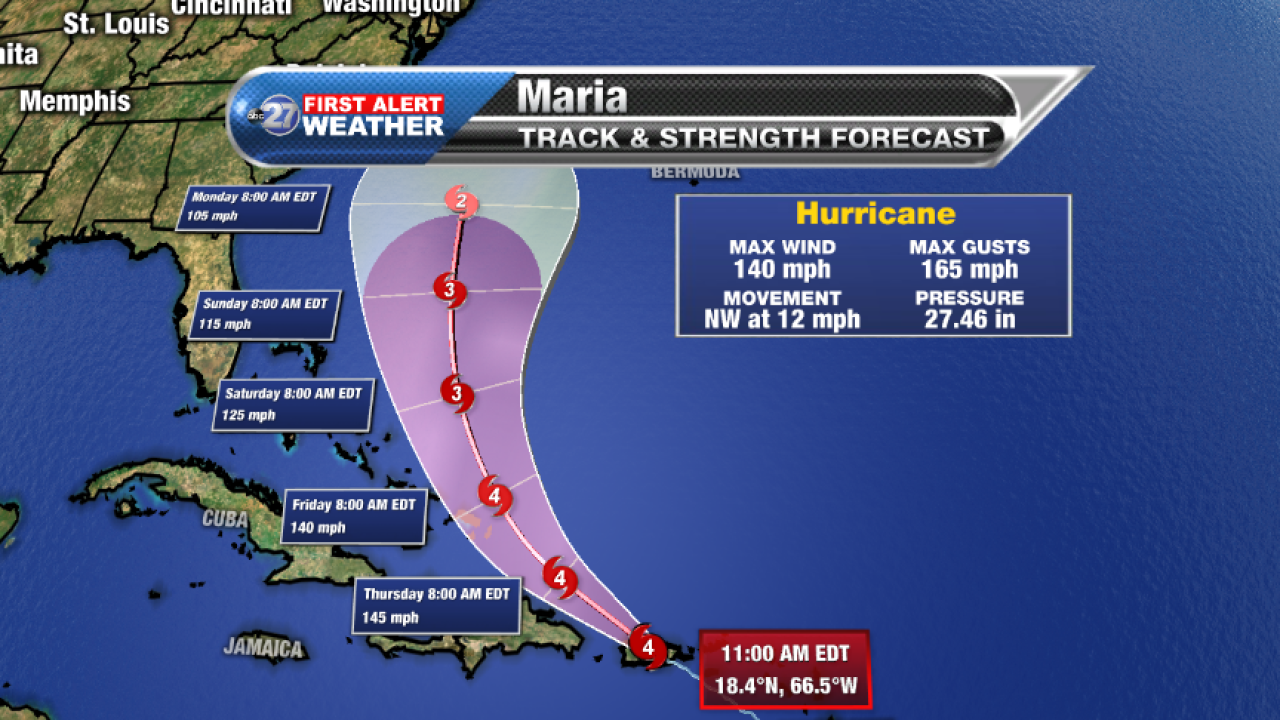 Hurricane Maria Forecast track (10am 09/20/2017)