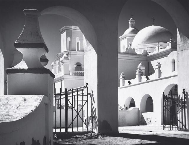 Ansel Adams photo of San Xavier Mission in Arizona Highways magazine