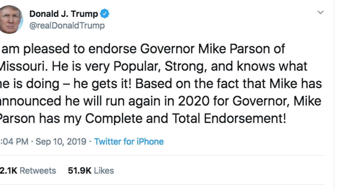 trump tweet endorsing parson
