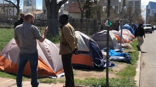 Homeless encampment on Arapahoe Street