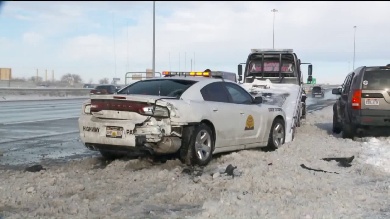 At least three UHP cars hit after storm covers Utah roadways in snow