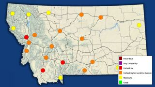 Air quality in Montana (Monday, July 26, 2021)