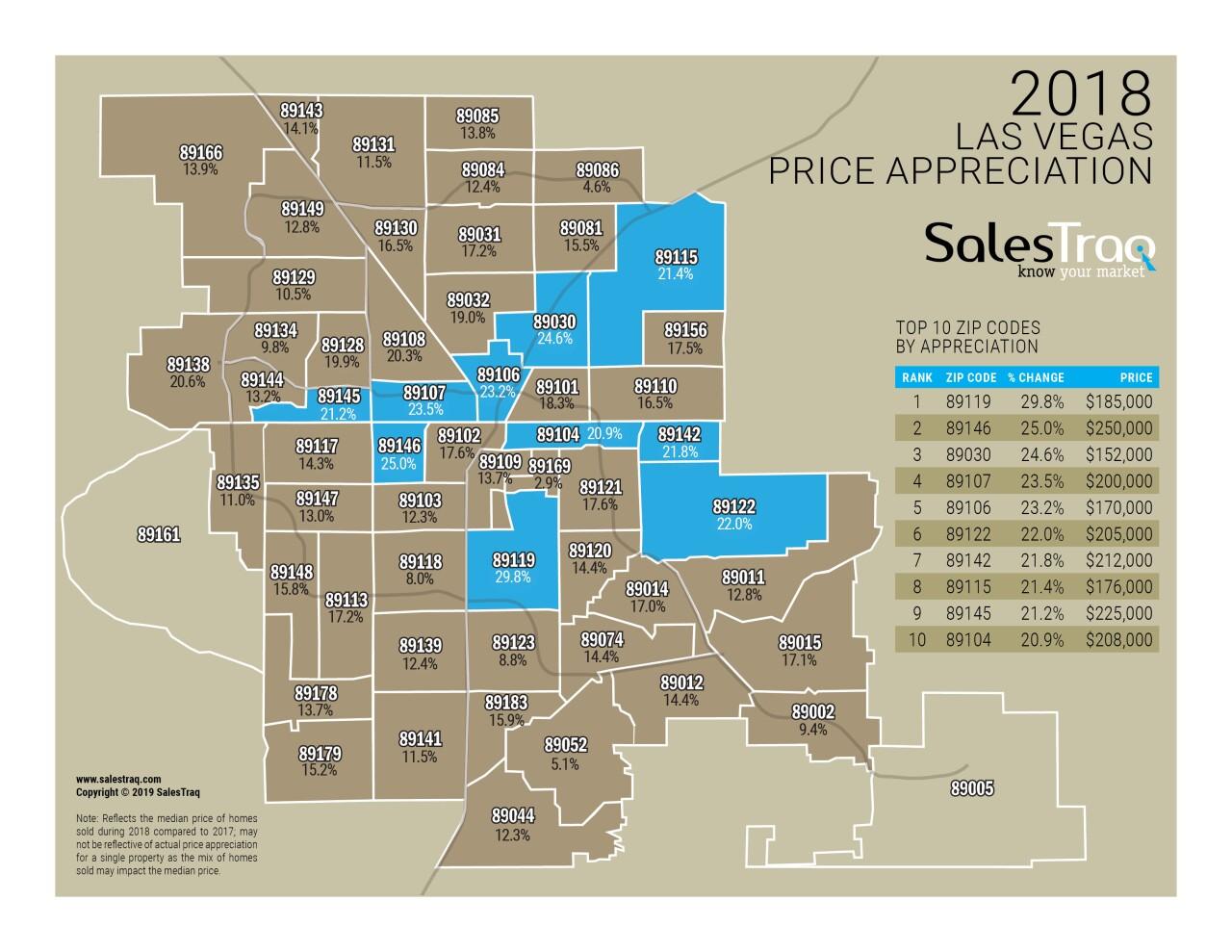 Vegas Zip Code Map SalesTraq release Las Vegas zip code appreciation maps for 2018