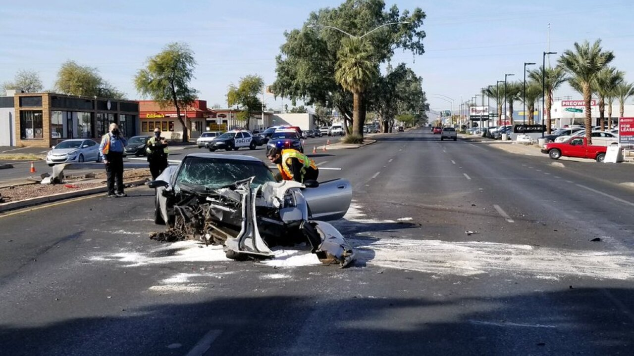 Tucson police investigated a serious injury wreck at Speedway and Belvedere Thursday. Photo via TPD.