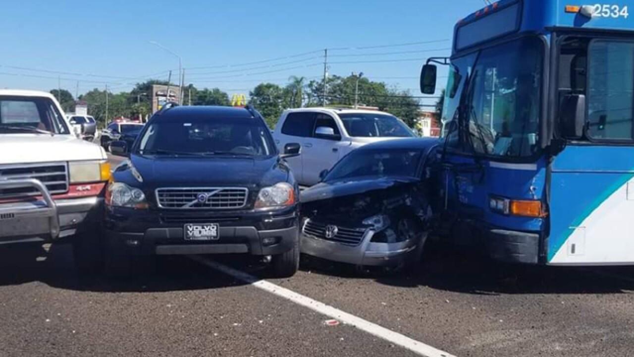 Crash involving bus, seven cars shuts down US-19