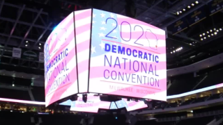 2020 DNC sign inside Fiserv Forum