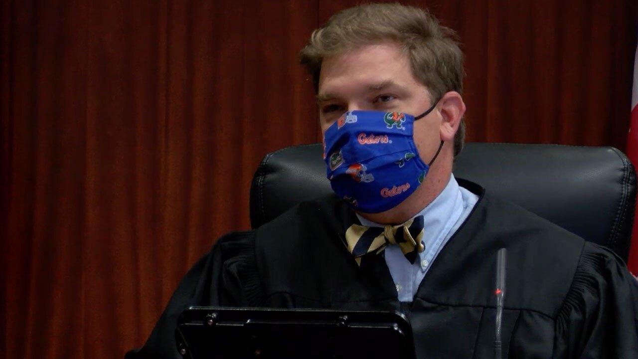 Circuit Court Judge Michael Linn in court on Sept. 14, 2021