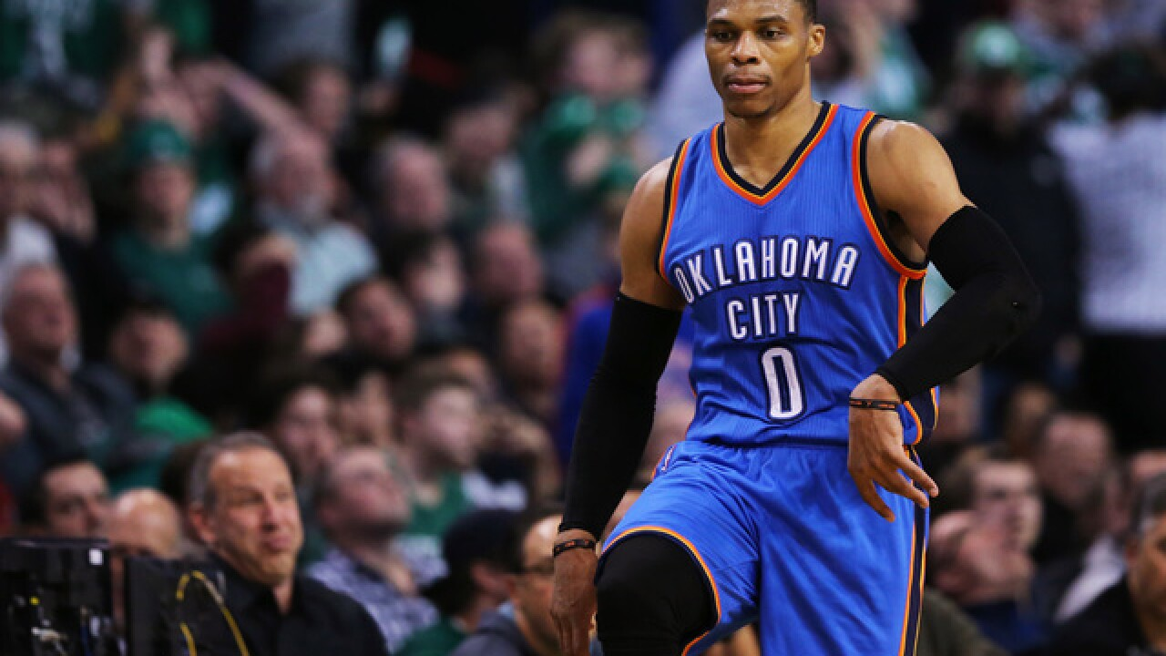 Westbrook sets triple-double record, hits buzzer-beater as Thunder beat Nuggets