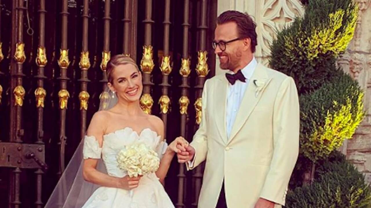 Amanda Hearst marries Joachim Ronning at Hearst Castle in August 2019. Photo: Instagram.com/joachimronning