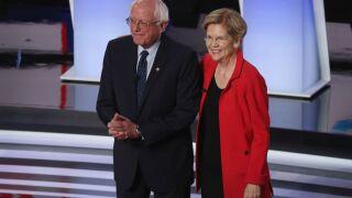 Senators Sanders and Warren defend liberal positions with moderate Democrats in debate