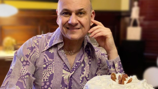 Michael Mararian dresses in vintage clothing with his baked creations once a week