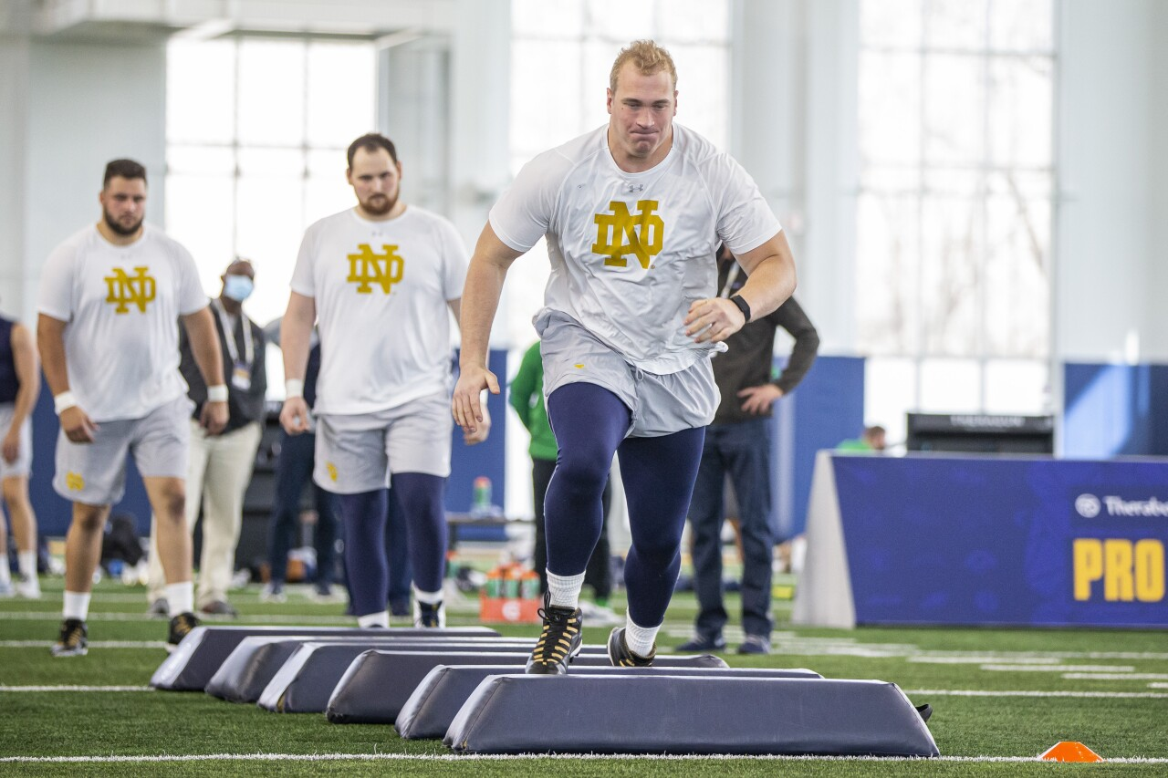Notre Dame Fighting Irish offensive tacke Liam Eichenberg at 2021 Pro Day
